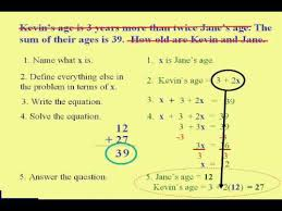 beginning algebra u0026 word problem steps youtube