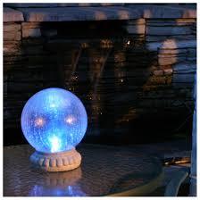 Gazing Globe Pedestal Smart Solar Crackled Glass Gazing Ball Light With Tabletop Base