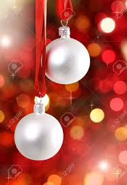 Red And White Christmas Lights by White Christmas Tree Decorations On Lights Background Stock Photo