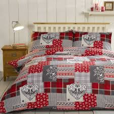 Red Duvet Set Bedding Heaven Alpine Patchwork Flannelette Duvet Cover Set