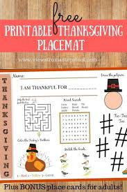 printable thanksgiving placemat for with ideas for a table