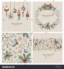 vector set christmas cards christmas seamless stock vector