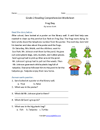 reading comprehension grade reading worksheets second grade reading worksheets