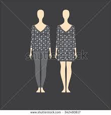 womens nightie dress girls jersey pajamas stock vector 342480617