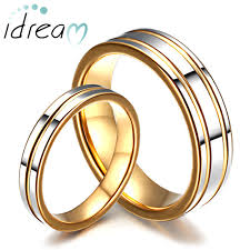 his and matching wedding bands two tone tungsten wedding bands set for women and men gold