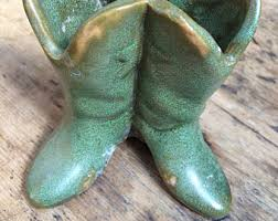 Cowboy Boot Planter by Ceramic Cowboy Boots Etsy