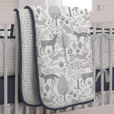 Forest Bedding Sets Navy And Gray Woodland 3 Crib Bedding Set Carousel Designs