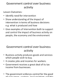 19 government control over business activity employment