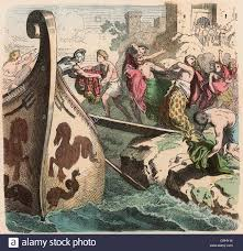 Ancient greece sea travel pirates coloured engraving by