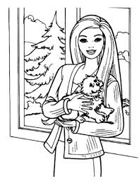 barbie doll and her pet dog coloring page coloring sun