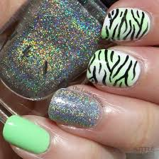 the one with the lime green zebra print manicure the little canvas