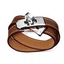 hermes bracelet images Hermes kelly double tour fake brown leather bracelet white gold jpg