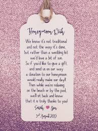 wedding donation registry wedding honeymoon fund money request poem card favour gift tag