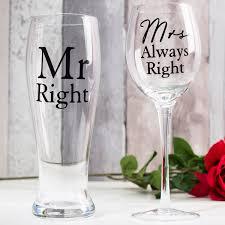 Unique Wine Glasses by Wine U0026 Pint Glass Set Mr Right U0026 Mrs Always Right