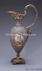 Metal Jug Vase Hand Made White Porcelain Jug Vase For Home Decoration Ornamental