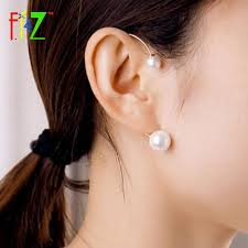 earrings on top of ear f j4z women cuff earrings top trending designer faux pearl non