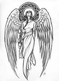 grey and white angel tattoo design