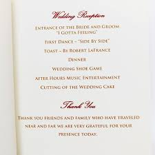 thank yous on wedding programs classic wedding program citrine designs