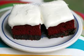 red velvet brownies with cream cheese icing two of a kind