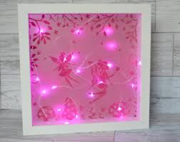 Fairy Night Light Nursery Decor Fairy Lights Shadow Box - Pink fairy lights for bedroom