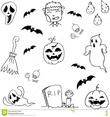 scary halloween doodle set stock vector image 73065571