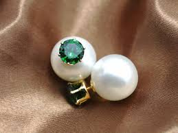 artificial pearl earrings sided shamballa brand stud