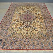 Rug Auctions Persian Cream Ground Silk Rug The Centre Decorated With Flowers