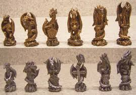 Metal Chess Set by Chess Set With Glass Board Themed Polyresin Platform Pewter