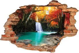 stickers trompe oeil mural stickers trompe l u0027oeil 3d cascade automne des prix 50 moins