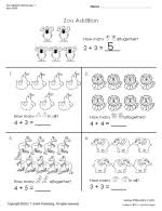 zoo addition worksheets 1 and 2