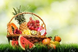basket of fruits basket of tropical fruits on green grass stock photo picture and