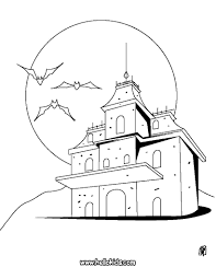 Printable Scary Halloween Coloring Pages by Vampires Haunted Manor Coloring Pages Hellokids Com