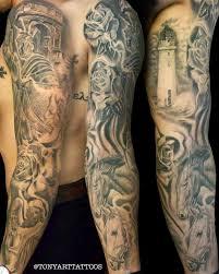 sleeve black and gray tattoos family sleeve by tony tapia