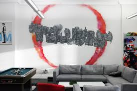funky graffiti art style for modern living room with grey fabric