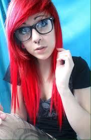 short blonde hair with red emo hairstyles women medium haircut