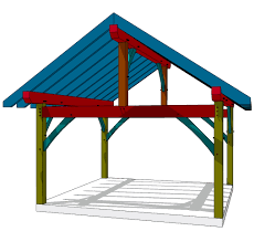 16x16 king post plan pergolas patios and construction