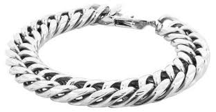 bracelet man silver stainless steel images Silver stainless steel 316l classic 3d curb rhodium bracelet men jpg