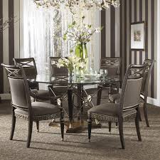 dining room the best glass round table and black chairs rug and
