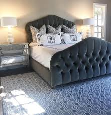Black Tufted Bed Frame Gray Velvet Tufted Bed With Black And White Monogrammed Key