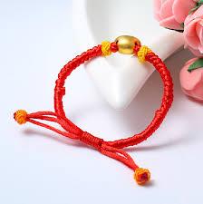 gold string bracelet images Pure 999 24k yellow gold yuan bao red string bracelet bring good jpg