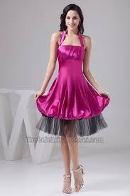 discount purple halter knee length cocktail graduation party dress