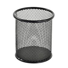 pencil holder for desk sandusky 3 5 in w x 4 in h round wire mesh pencil cup black