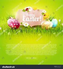 green paper easter grass easter background colorful eggs paper stock vector 596608118