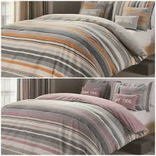 Bedding Cover Sets by Teenager Striped Reversible Duvet Cover Bed Sets Orange Or Lilac