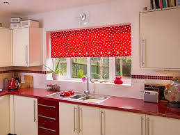 kitchen red and white polka dot kitchen blind design simple
