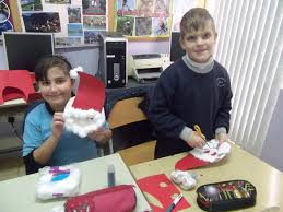 year 6 students doing christmas crafts christmas card u0026 father