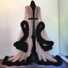 robe mariã e vintage luxurious silk robe adorned with faux fur vintage dreams