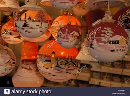an array of handmade tree decorations or baubles