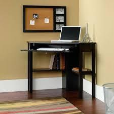 dark brown computer desk furniture elegant black painted wood l shape small corner computer