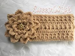 crocheted headbands crocheted headbands earwarmers big fower ready to ship womens